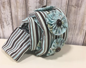 Camera Strap Cover in Brown and Teal Stripe with Floral Accents