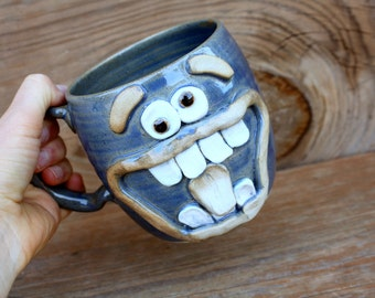 24 Ounce Funny Face Coffee Mug. Giant Beer Stein for Him or Her. Blue OCD Wacky Ug Chug Face Mug. Wheel Thrown Microwave Dishwasher Safe.