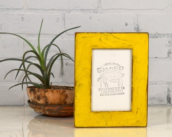 "4x6 Picture Frame Reclaimed Cedar 1.5"" Wide Wood with Super Vintage Yellow Finish - IN STOCK - Same Day Shipping - 4 x 6 Frame"