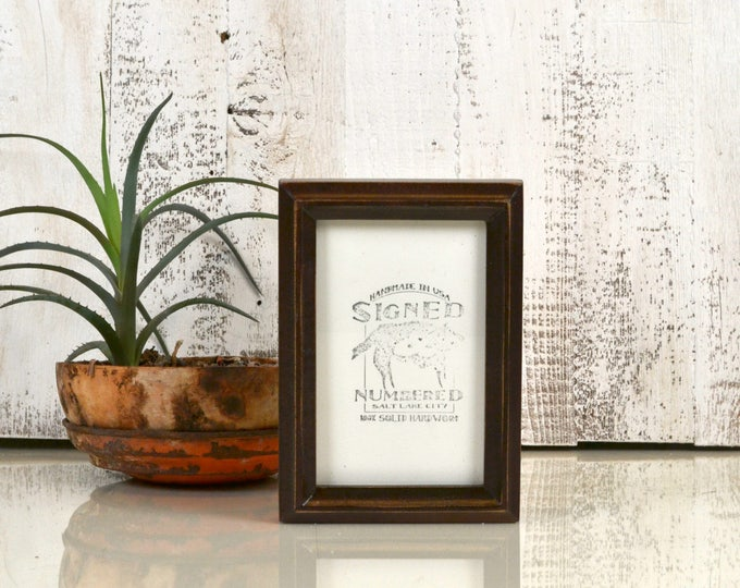 4x6 Picture Frame in Deep Double Cove Style with Vintage Dark Wood Tone Finish - IN STOCK - Same Day Shipping - 4 x 6 Photo Frame Brown