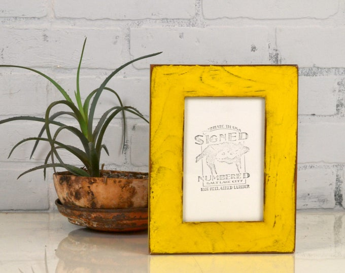 """4x6 Picture Frame Reclaimed Cedar 1.5"""" Wide Wood with Super Vintage Yellow Finish - IN STOCK - Same Day Shipping - 4 x 6 Frame"""
