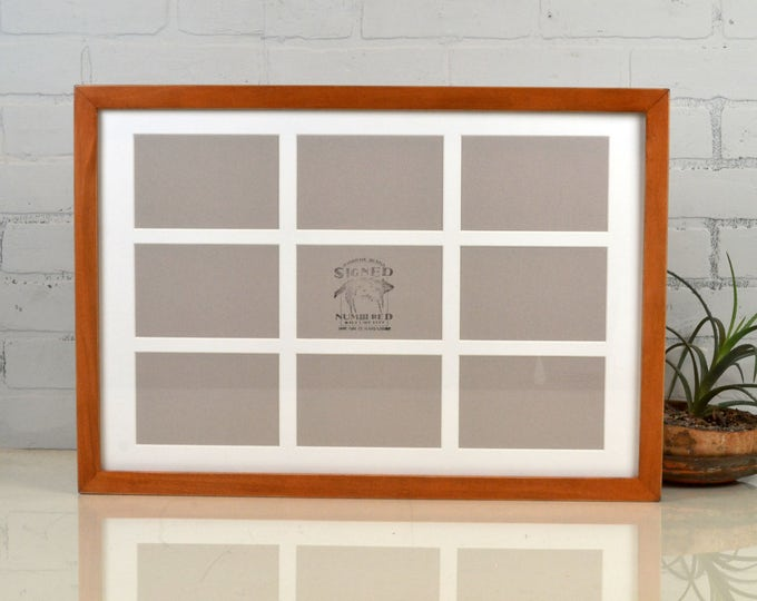 """Collage Frame 15x22"""" 1x1 Flat Style with Mat Windows for (9) 4x6 Photos in Vintage Wood Tone Finish - Same Day Shipping - 4x6 Photo Collage"""