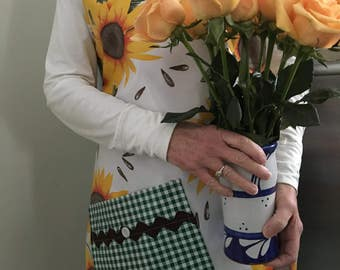 The Van Gogh---sunflower print full sized apron in oilcloth