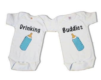 Twin outfits drinking buddies, twins, custom, short sleeves