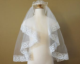 Vintage 1960s Girls Confirmation Crown Veil in Box VGC / Faux Pearls Crystals Rhinestones and Lace