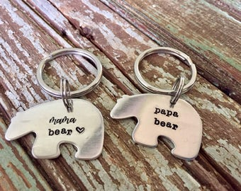 Mama bear papa bear key chain- Mother's Day- Father's Day- gift for new mom- gift for new dad- personalized key chain - custom gift