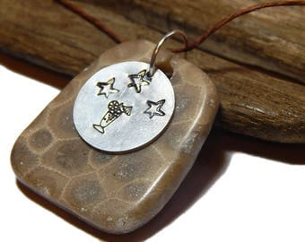 Petoskey Stone Coctail  Pendant, hand polished beach stone upnorth fossil, Lake Michigan, Michigan coral, hand stamped charm, rustic artisan