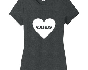 Heart Carbs - Funny Women's Fitted T-Shirt