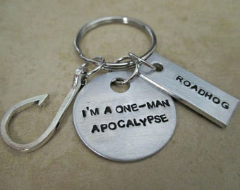 i'm a one-man apocalypse - hand stamped overwatch roadhog inspired keychain with hook charm