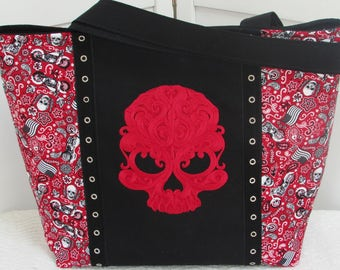 Baroque Punk Skull Large Tote Bag in Red Bandana Biker Tattoo Skulls Purse Alternative Fashion Gothic Shoulder Bag Ready To Ship