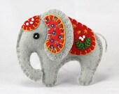 Felt elephant ornament, Handmade elephant Christmas ornament, Felt Christmas ornament, Elephant decoration, Felt Christmas elephant ornament