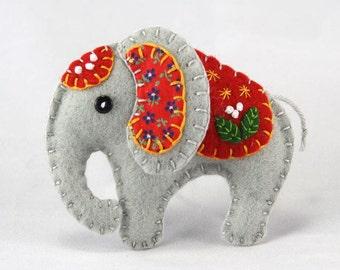 Felt elephant ornament, Handmade elephant Christmas ornament, Felt Christmas ornament, Elephant decoration, Felt Christmas elephant ornament
