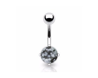 Surgical Steel Belly button ring with obsidian stone, Belly bar, Body piercing, Body jewellery, Surgical steel piercing, Tummy button