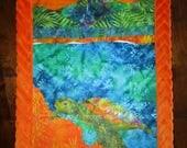 SEA TURTLE Beach Orange Soft MINKY Blanket~ Baby Receiving Lovey Stroller Hawaii