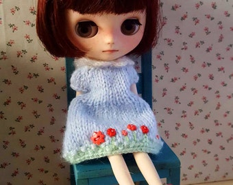 Floral dress, knitted dress for Middie Blythe, knitted blouse for Neo Blythe, dress for doll