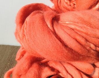 "Extra Bulky Yarn, Chunky Handspun Yarn, Thick and Thin Handspun Yarn, Merino Wool Yarn, Bulky Yarn, ""Peachy Pink"""