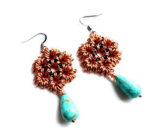 AS Seen On the CWs Jane The Virgin gunmetal and copper earrings with turquoise drops//chainmaille//earrings//dangle earrings//jewelry