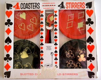 Vintage Playing Card Coasters and Drink Stirrers Swizzle Sticks Set of Four in Box