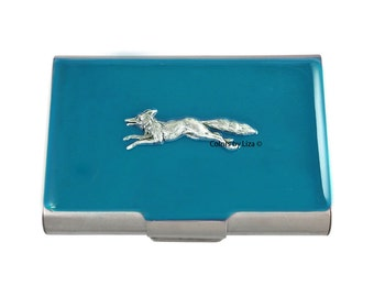 Fox Hound Turquoise Large Business Card Case Hand Painted Glossy Enamel with Personalized and Color Options