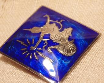 Vintage Sterling Blue Enamel Siam Brooch Enamel Jewelry Siam Jewelry Sterling Brooch Sterling Siam