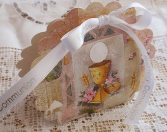 First Communion Favor Box Kit with printed ribbon, set of 12