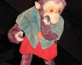 Vintage Stuffed Toy Monkey/50's Plush Monkey Toy