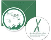 Custom Listing:  Save the date coasters- Ski Couple