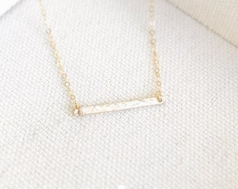SALE - Tiny Hammered Bar Necklace in Gold - Little Bar Pendant - Dainty Gold Jewelry - Minimalist - Perfect Gift - thelovelyraindrop