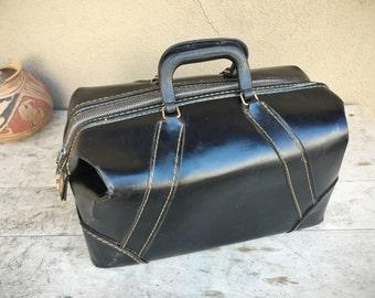 Vintage suitcase black vinyl storage, 1970s travel bag faux leather luggage, Mens overnight bag, industrial steampunk decor, graduation gift