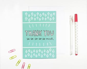 Blue Thank You Card Bright Pattern