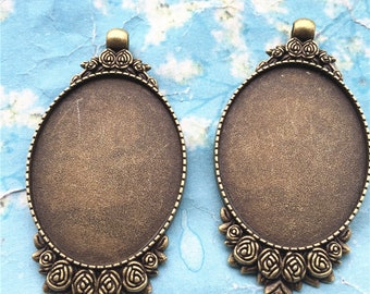 NEW COME 5pcs 53x32mm antiqued Bronze oval rose flower cameo/cabochon base setting pendant blanks/bezel trays(40x30mm incavity)
