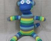 Clearance  Handmade Blue & Green Striped Sock Monkey Stuffed Animal Doll Baby Toys