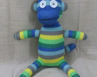 Clearance  Handmade Blue & Green Striped Sock Monkey Stuffed Animal Doll Baby Toys