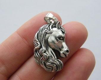 1 Horse pendant antique silver tone A72