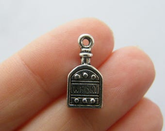 4 Whisky bottle charms antique silver tone FD254