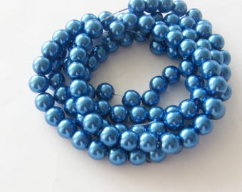 105 Blue imitation pearl  glass beads B89