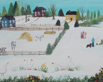 "A Gaggle of Geese"" acrylic painting folk art style"