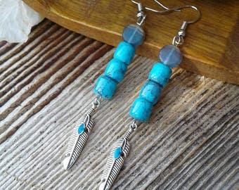Turquoise Earrings,Feather Earrings