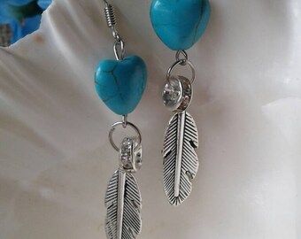 Country Western Turquoise Heart Feather  Earrings