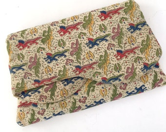 Vintage 30s Art Deco Chinoiserie Fabric Foldover Clutch Dragons and Phoenix