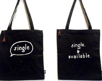 Single or Single & Available Hand-painted Black Tote Bag with Zipper and Phone Pocket