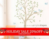 Holiday Sale - THE ORIGINAL Tree with Birds and Nest Decal - Children's Vinyl Wall Decal Set