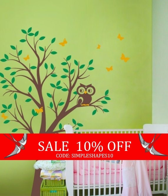 Sale - Tree with Owl and Butterflies - Children's Vinyl Wall Sticker