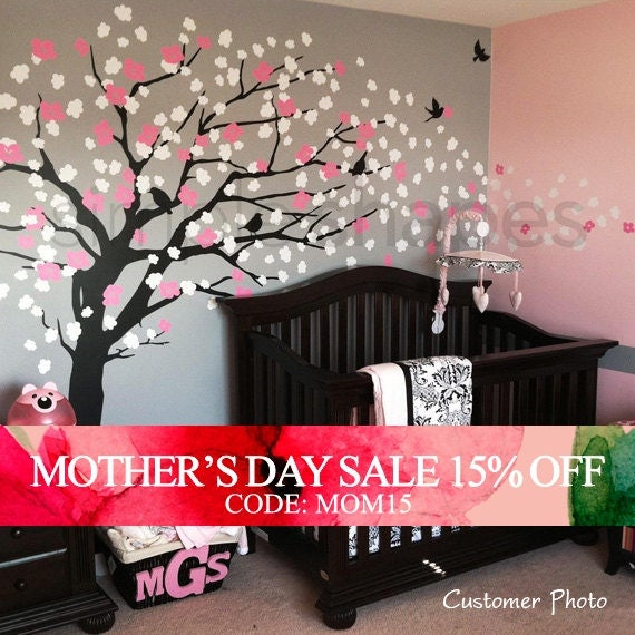 Mothers Day Sale - Wall Decals - Cherry Blossom Tree - Elegant Style - LARGE Wall Decal
