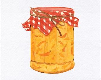 Orange Marmalade Unframed Watercolor Art Print