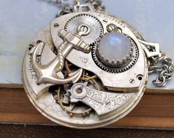 steampunk jewlery - JOURNEY - antique Waltham year 1899 pocket watch movement necklace with natural rainbow moonstone