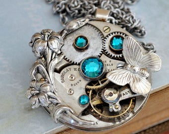 steampunk jewelry, steampunk necklace, statement piece, LOVE TAKES TIME, vintage brass pocket watch movement necklace