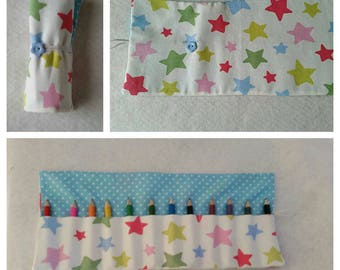 CATH KIDSTON pretty pastel shooting stars fabric Pencil Crayon roll - holds 12 pencils/crayons (included)