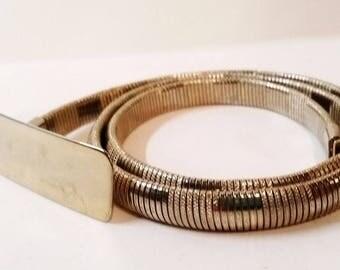Thin Gold Metal Elastic Belt size Small