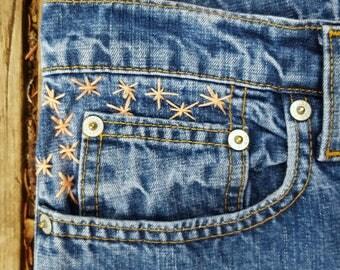 hand embroidered, ralph lauren jeans